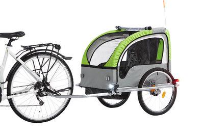 Comfortabele kinderkar achter fiets.