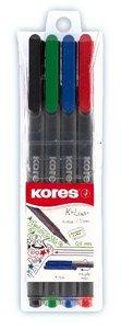 Kores 28114 Fineliner set, 0,4 mm, 4 kleuren