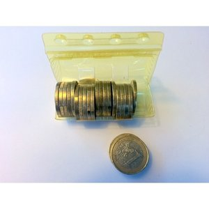 Muntcontainers 1 euro, kunstof blisterverpakking.
