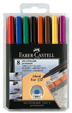 Faber Castell multimark permanent CD DVD pennen 151309 set van 8 stuks