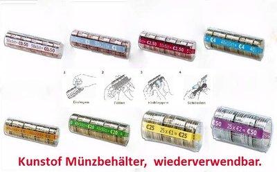 Muntcontainers geschikt voor hergebruik. Alle munten van 5 cent - 2 euro