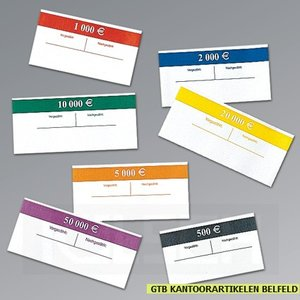 Banderollen (100), wikkels voor Euro bankbiljetten. Verpakken