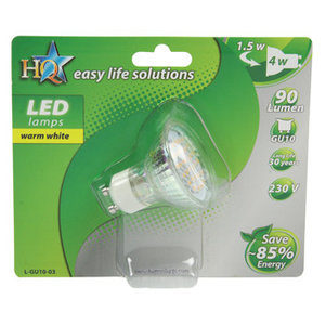 LED MR16 met 20 LED's  warm wit  1,5 Watt GU10 voet 230 Volt